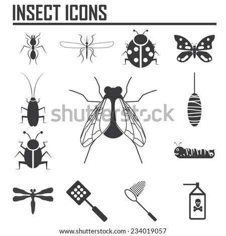 insect icons   illustration