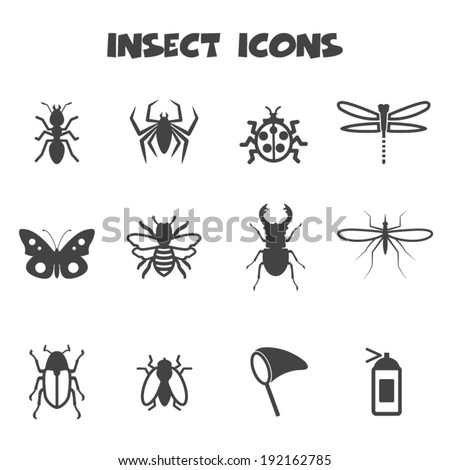 insect icons  mono vector