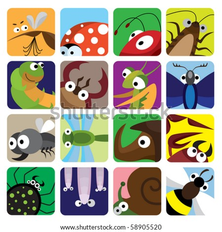 Insect icons set - stock vector