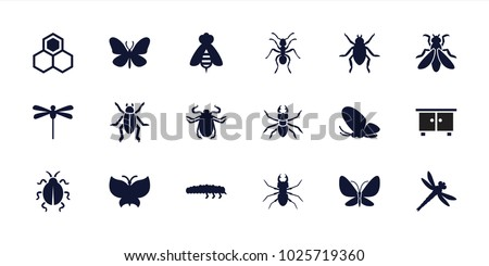 Insect icons. set of 18 editable filled insect icons: beetle, butterfly, ant, caterpillar, dragonfly, beehouse, fly, honey, bee
