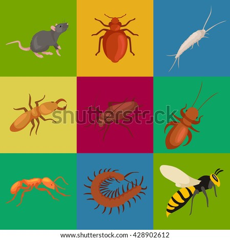 insect pest set isolated sign