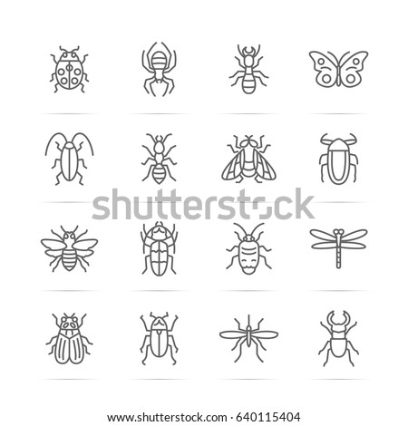 Shutterstock insect vector line icons, minimal pictogram design, editable stroke for any resolution