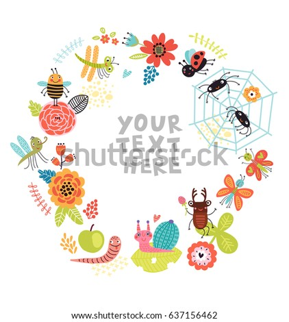 insects background with flowers