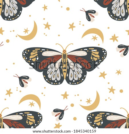 Insects butterfly seamless vector pattern. Mystic moth background. Bohemian vintage mystic graphic. Elegant trendy print. stock photo
