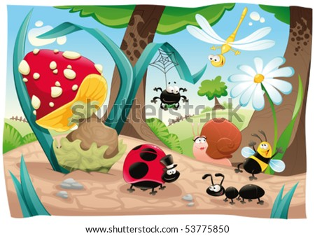 stock vector : Insects family on the ground. Funny cartoon and vector scene. Objects isolated.