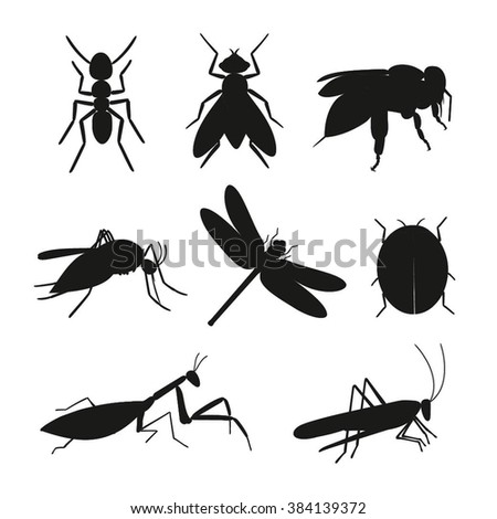 insects silhouette vector set