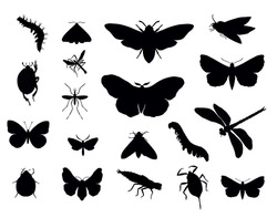 Insects silhouettes collections. Vector eps8