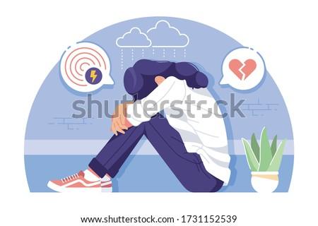 insecure girl flat design illustration background Foto stock ©