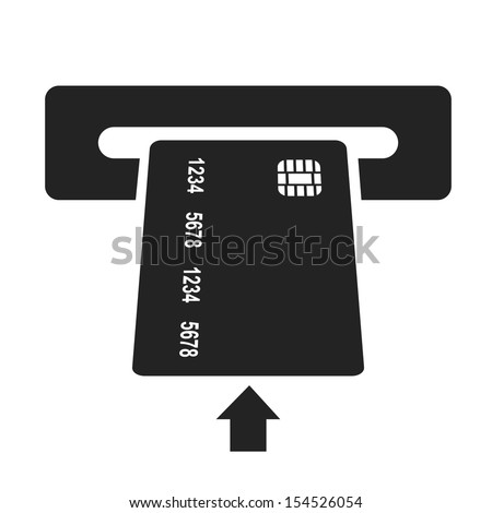 inserting credit card black icon. money withdrawal vector illustration - stock vector