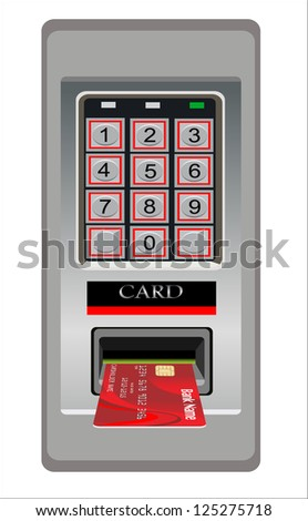Inserting credit card into bank machine to withdraw money. - stock vector