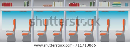 Inside bus and seat with bag and blue window vector