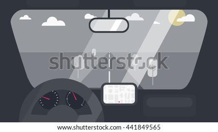 inside car interior with wheel