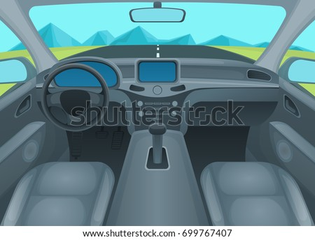 Inside Car or Auto Interior Comfort Cabin with Wheel and View of Road in Window. Vector illustration