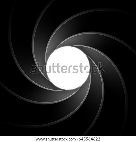 Inside gun barrel template. Classical James Bond, agent 007 theme remastered into a vector illustration. Background, element or backdrop for secret agent themed designs. Spiral or vortex pattern.