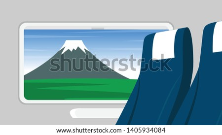 Inside interior landscape view from the train in japan with landscape view of mountain hill outside(mount Fujiyama in Yamanashi, Japan)