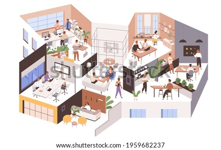inside large office with