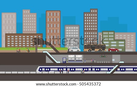 Inside metro subway station with train and people , Cityscape and public transportation  , vector illustration