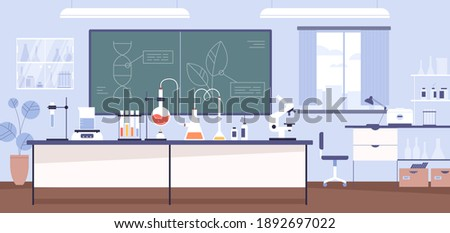 Inside modern scientific chemical laboratory or chemistry classroom interior. Microscope, glass tubes, flaks and other instruments and equipment for analysis and research. Flat vector illustration