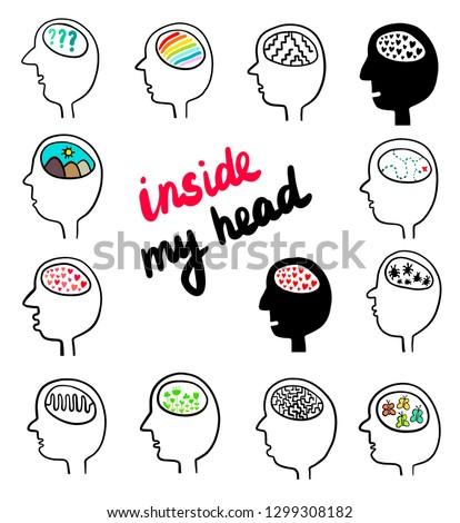 inside my head set hand drawn