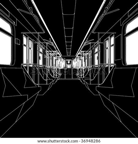 Inside Of Metro Train Wagon Vector 01