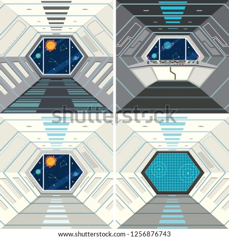 Inside of the spacecraft background illustration