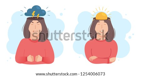 Inside woman's head concept. Good and bad mood. Sun or clouds in place of brain. Girl happy or angry, pre menstrual syndrome PMS sign. Vector illustration isolated on white