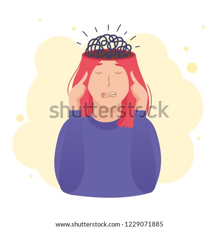 Inside woman's head concept. Tangled thoughts, brain knot, overthinking problem.Mental health design. Vector illustration isolated on white