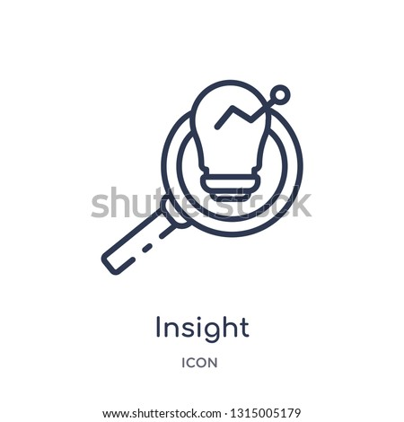insight icon from security outline collection. Thin line insight icon isolated on white background. Foto d'archivio ©