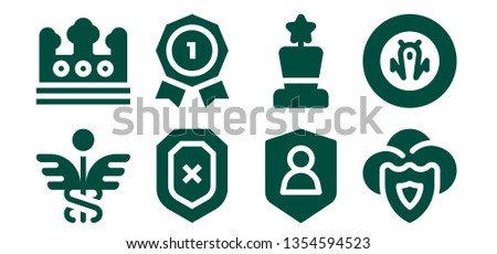 insignia icon set. 8 filled insignia icons.  Simple modern icons about  - Caduceus, Crown, Shield, Insignia, Award