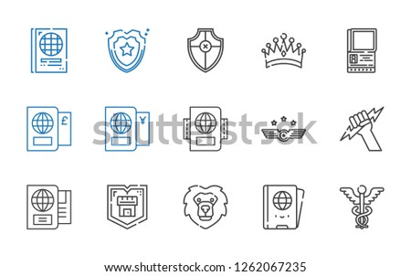 insignia icons set. Collection of insignia with caduceus, passport, lion, shield, zeus, air force, crown. Editable and scalable insignia icons.