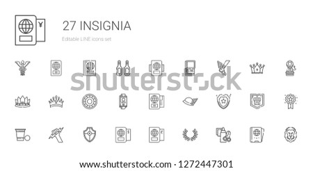 insignia icons set. Collection of insignia with handcraft, laurel, passport, shield, zeus, beer pong, hermes, crown, lion, badge, additives. Editable and scalable insignia icons.