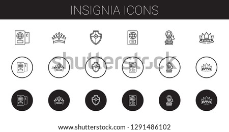 insignia icons set. Collection of insignia with passport, crown, shield, lion. Editable and scalable insignia icons.