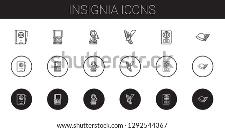 insignia icons set. Collection of insignia with passport, lion, hermes. Editable and scalable insignia icons.