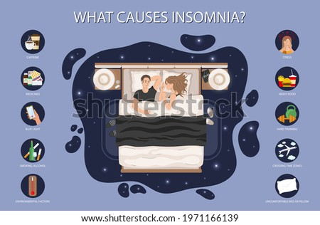 Insomnia causes vector illustration set. Young man lying n bed. Relationship problem or sleep disorder concept. Unhappy man and woman characters in night bedroom. Foto stock ©