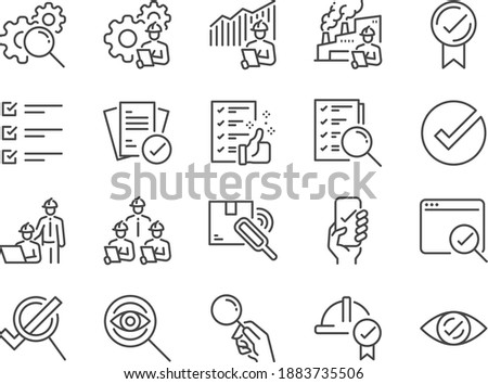Inspection line icon set. Included the icons as inspect, QA, qualify, quality control, check, verify, and more.