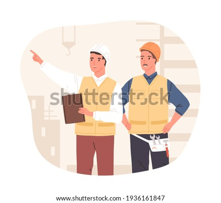 Inspector and foreman in hardhats at construction site. Supervisor or manager controlling building process. Colored flat vector illustration of workers in hard hats isolated on white background Сток-фото ©