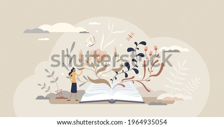 Inspiration as motivational book reading and literature tiny person concept. Art creation and emotional feminine story writing vector illustration. Fantasy and feelings expression in poems or stories.