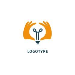 Inspiration, creative agency, innovation, energy, electric, designer, training, education web icon. Idea minimalistic vector logo. Vector lamp icon. Vector illustration, Graphic Editable Design.