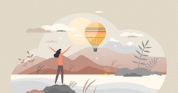 Inspiration or motivation scene with beautiful nature tiny person concept. Future vision with positive and happy attitude or freedom feeling vector illustration. Emotional enjoy and love life attitude