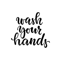 Inspirational handwritten brush lettering wash your hands. Vector calligraphy stock illustration isolated on white background. Typography for banners, badges, postcard, prints