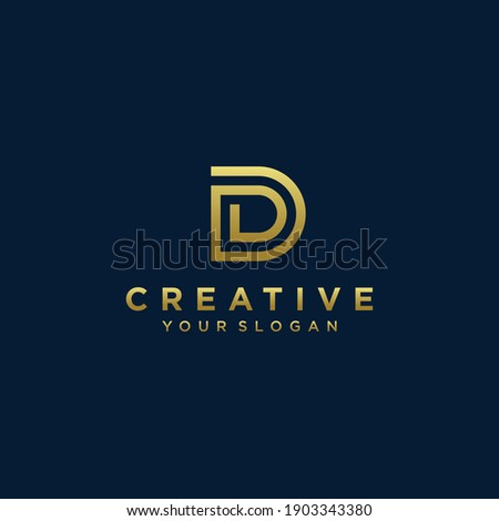 Inspirational letter d monogram logo design with modern concept gold colour Premium Vector. part 6 Photo stock ©