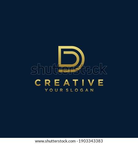 Inspirational letter d monogram logo design with modern concept gold colour Premium Vector. part 8 Photo stock ©