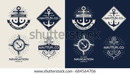 Inspirational themplate of Nautical Style Logo, Emblem Designs. Vintage sea label
