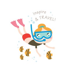 Inspire and travel Greeting card in vector. Summer child's outdoor activities. Beach holiday. Happy childhood.