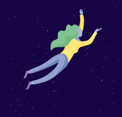 Inspired woman flying in space. Character moving and floating in dreams, imagination and inspiration. Flat design style, vector illustration.