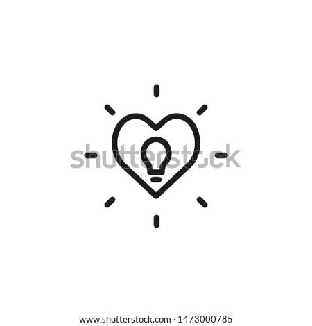 Inspiring idea line icon. Bright, illuminated, lightbulb, heart. Creativity concept. Can be used for topics like brainstorming, genius, imagination