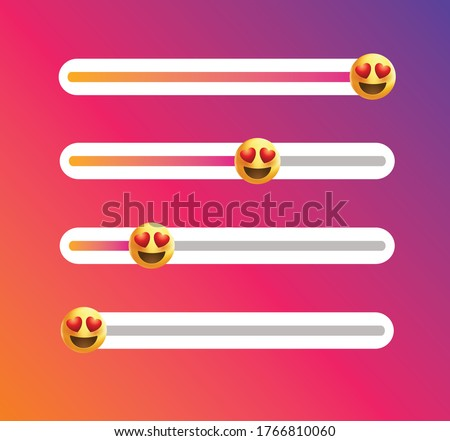 Insta emoji slider. Yellow face icon.Love emoticon with hearts.love emoji.Love level slider.Feedback  poll.Vector feedback survey template.