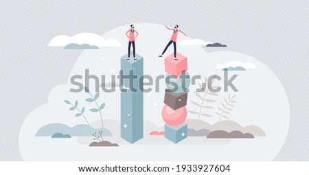 Instability and lack of balance as business collapse risk tiny person concept. Uncertainty and fragile company management style with control loss and not stable financial support vector illustration.
