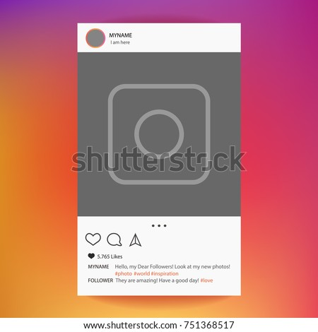 Instagram app. Photo frame vector for application. Social Media concept and interface