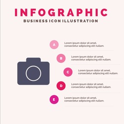 Instagram, Camera, Image Solid Icon Infographics 5 Steps Presentation Background